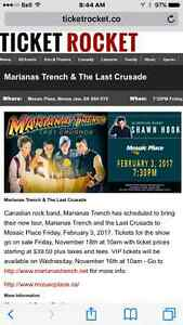1 pair 2nd row VIP soundcheck Marianas Trench Moose Jaw Regina Area image 1