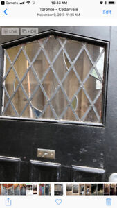 Stained glass wooden door and windows