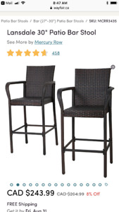 Outdoor bar stools - BRAND NEW