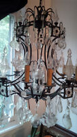 Large Wrought Iron Crystal Chandelier