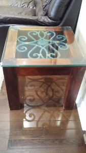 SQUARE END TABLE IN BRAZILIAN OAK WITH IRON INSERT+GLASS
