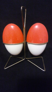 Vintage Orange and White Salt 'n Pepper with Stand