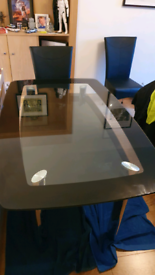 Harvey's Boat Glass Dining Table + 6 Chairs
