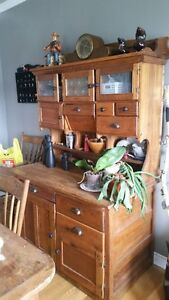 Antique Hoosier Cabinet & table with 4 chairs & lamps