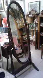 Antique OVAL STANDING TILTING MIRROR