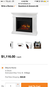 Fireplace- beautiful dark wood /electric