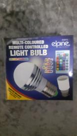 Multi coloured remote controlled light bulb