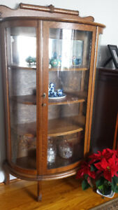 Beautiful Antique Oak Display Cabinet