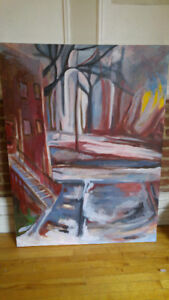 "Large original painting of montreal city 36"" by 48"""