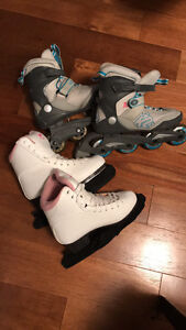 Womens Roller Blades and a figure skates size 7.5