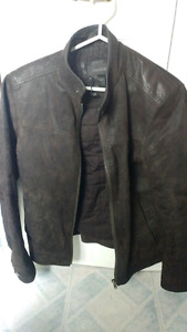 Men's Small (Size 36) Danier Leather jacket with Grey hood liner