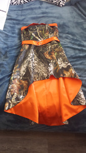 Orange camo high-low formal dress