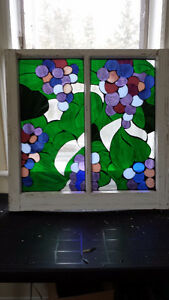 Stained glass grapes and leaves mosaic
