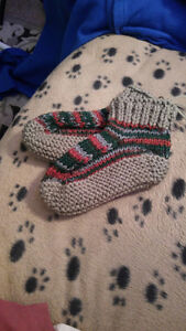 Hand knitted Men's Or Women's slippers.