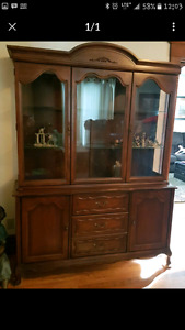 Wood Hutch With Glass Shelves.