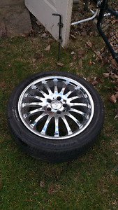 "18"" chrome rennin rims with tires"