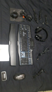PC gaming keyboard, mouse & headset