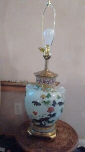 "Old Hand Painted Double Ears Porcelain Vase Lamp, Total 29"" Tall"