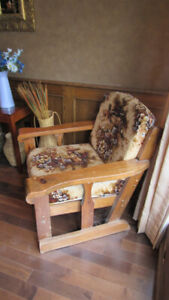 antique country style solid wood arm chair