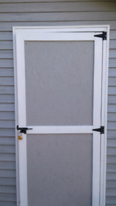 Outdoor grey STAIN.  Also, Outdoor white SEMI-GLOSS PAINT.