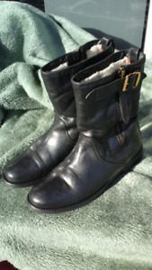 BURBERRY Black Leather Boots Women's Size 7.5 / 38
