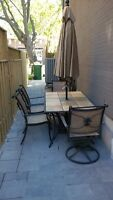 Patio Set with removable ceramic tiles, 4 chairs & umbrella