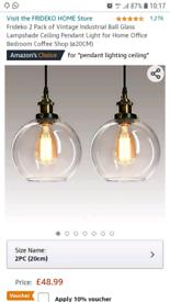 Frideko 2 Pack of Vintage Ball Glass Ceiling Pendent