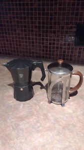 Espresso maker and French Press.  $15 for the pair.