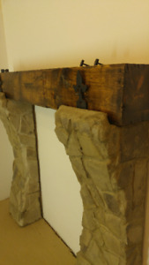 Wood beam mantel