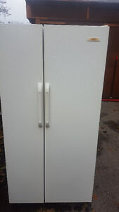 2 white side by side fridges 150.00 each, clean, Delivery availa