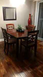 Dinner table with six upholstered chairs and Extension Kitchener / Waterloo Kitchener Area image 2