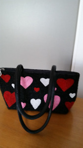 Hand Beaded Black Purse with Hearts