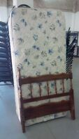 COMPLETE TWIN BED - MATTRESS, BOX, HEAD, FOOT & METAL RAILS