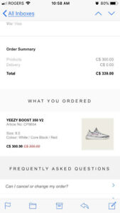 Selling Ds Zebra Yeezys V2 size 8.5 from adidas website.