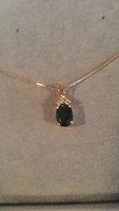 Emerald and diamond 14Kt gold necklace