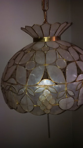 Malaysian Capize Shell/brass Double Hanging Light Fixture