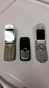 One Rogers cell and 2 flip phones