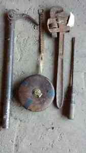 Antique Early Handtools. Cloth Tape + Nail puller Strathcona County Edmonton Area image 1