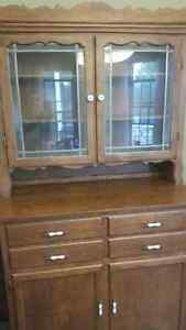 antique style wood hutch