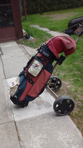 Golf cart, Fila bag and full complement Arnold Palmer RH clubs
