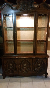 Priced to sell solid wood China cabinet beautiful