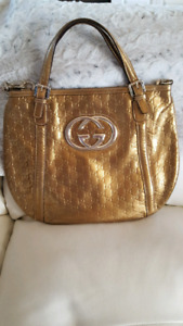 Gucci britt gold bronze metallic handbag purse bag guccissima