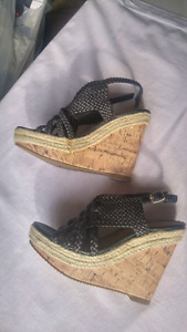 Size 5, black wedge sandals