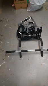 Iron gym pull up bar and bag also selling ab pro machine