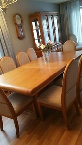 For Sale - Solid Oak Table , Oak China Cabinet ,  10  Chairs SET