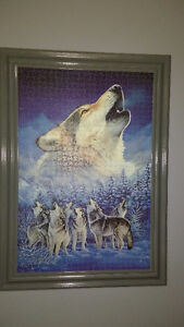 Assorted large wolf puzzles mounted/ cleared & framed