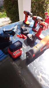 Reduced!  power tools with 5 batteries and chargers (12 & 18 V)