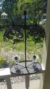 Cast Iron Two Candle Holder with Fancy top