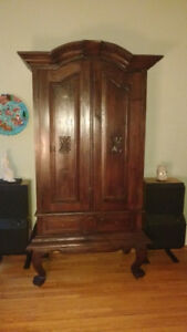 Solid teak wood cabinet, wardrobe or hutch