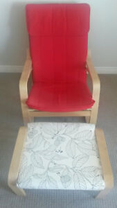 Rocker and Footrest (IKEA Poang red chair and white leaf design)